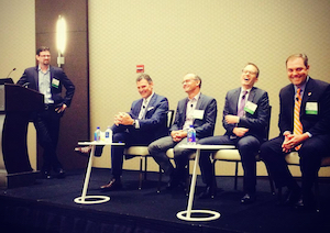 David and airline execs from United, Virgin, Emirates and Southwest have some fun at a Chicago Business Travel Association event in September