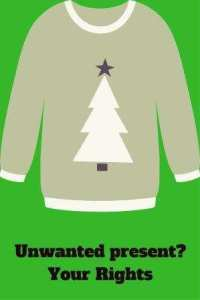 Christmas jumper on green background unwanted present your rights