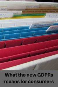 "Coloured files in cabinet with name labels text ""What the new GDPRs mean for consumers"