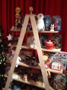 Toys on tiered stand
