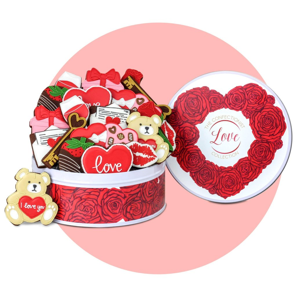 Love Chocolate Biscuit Collection with with pink background