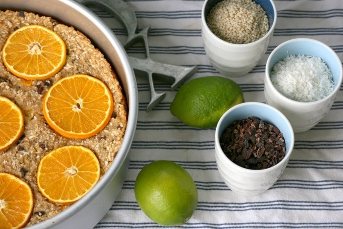Orange Sesame Baked Oatmeal Recipe with Cacao Nibs