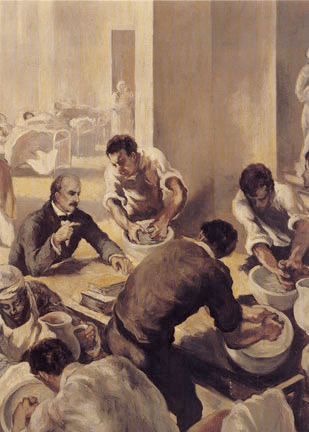 Dr Semmelweis instructing doctors to wash their hands before touching the birthing women. This image of one of 12 mural panels done by the Italian painter Gregorio Calvi di Bergolo commissioned by the International Museum of Surgical Science, Chicago in 1953. The panels done in oil paint, show the development of surgery through the ages and each is about 80 x 44 inches.