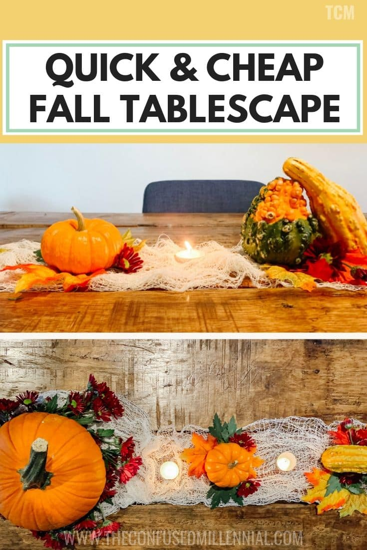 Beautiful Last Minute Quick, Cheap, and Easy Fall Tablescape, fall tables capes, fall table decor, simple diy rustin fall table with pumpkins, friendsgiving and thanksgiving table decor ideas, autumn farmhouse table, thanksgiving table scape on a budget with inexpensive flowers, center pieces, candles, pinecones, burlap, and gourds, customize for a long time, #thanksgivingtable, #friendsgivingtable, #falltable