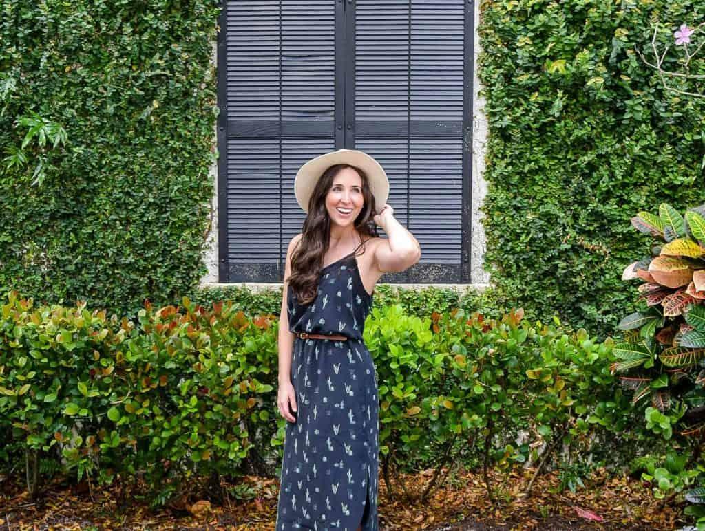 millennial blogger in equipment cactus dress