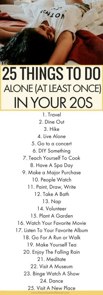 things to do alone in 20s, #selfcare, list of ideas for things to do alone when bored