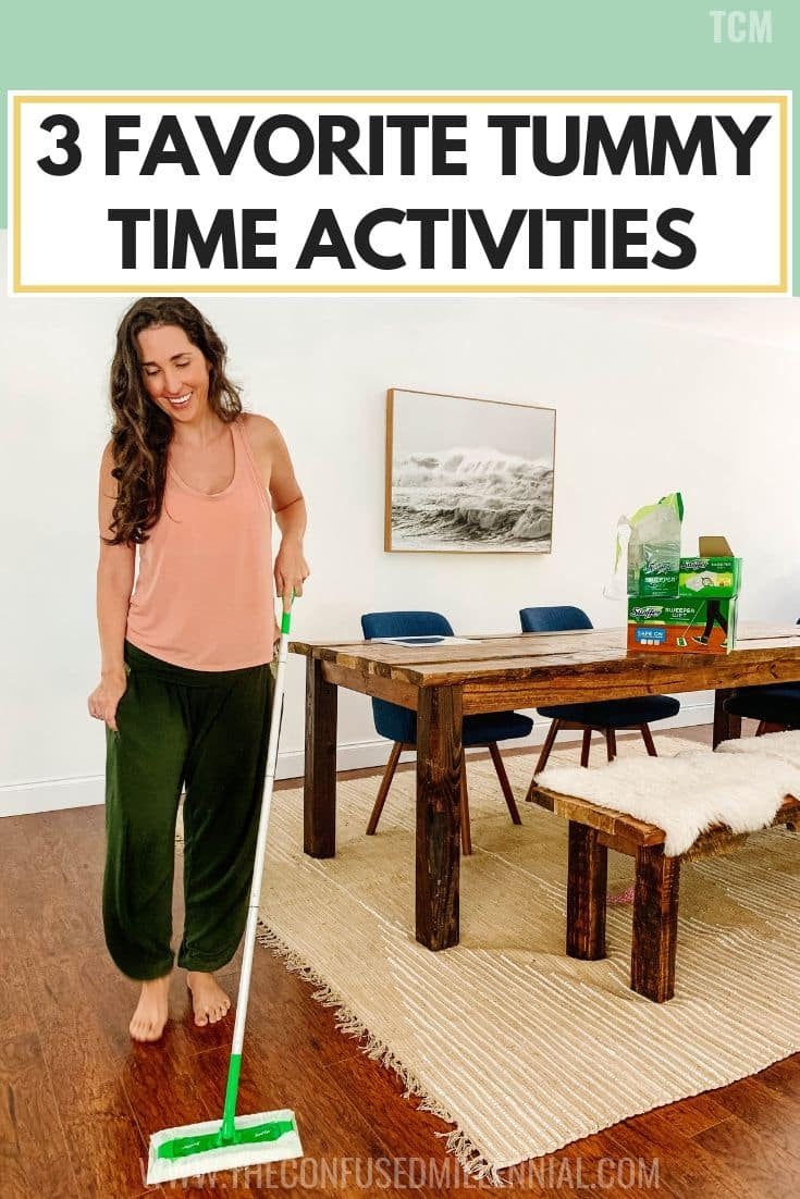 3 favorite tummy time activities, when to start tummy time with newborn, how to do tummy time with 2 month old with eczema, tummy time tips by age and what type of mat to avoid for baby with skin problems, sensory bags and stages of things to do with infant, #tummytime, #eczema, #infantactivities, #newbornideas