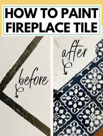 How To Paint Fireplace Tile With A Stencil: Mistakes To Avoid On Your DIY Fireplace Makeover, ideas for tile surround brick and wood mantle, painting with a tile stencil in white, black, grey, and dark blue, tile stencil pattern on floor around fireplace, #tilestencil, #painttile, #fireplacemakeover, #fireplacetile, #fireplacehearth, paint fireplace hearth tile with tile stencil