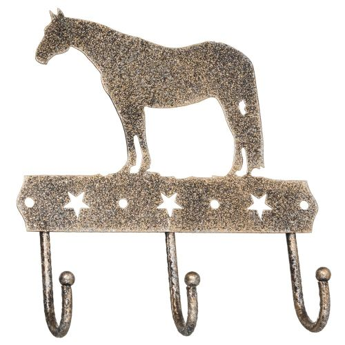 3 Hook Rack With Equine Motif And Glitter Finish