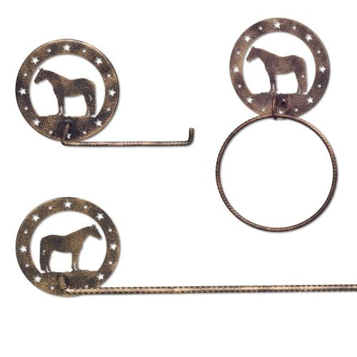 3 Piece Metal Equine Motif Bathroom Set