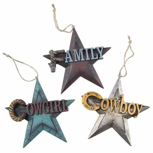 3 Piece Rustic Star Ornament Set