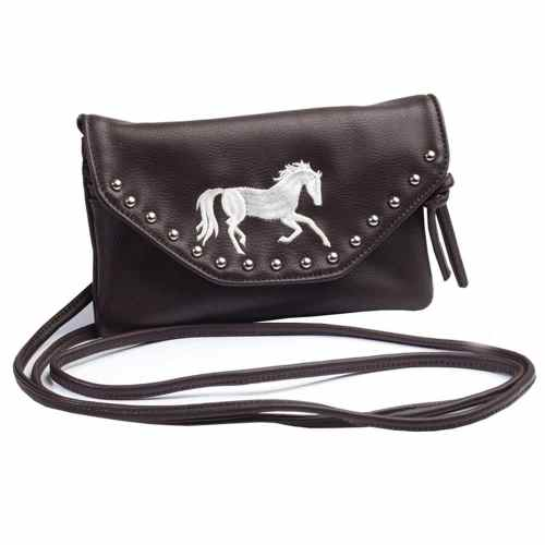 Cross Body Purse with Emboidered Horse and Studs - Choco