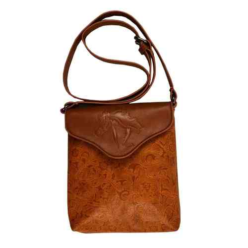 Cross Body Purse with Embossed Horse Head Tan