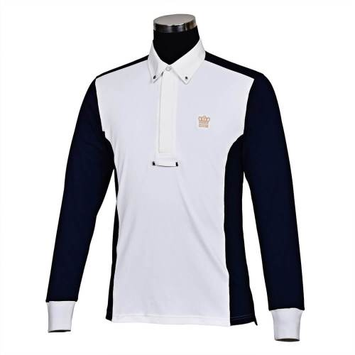 George Morris Champion Long Sleeve Show Shirt WHITE/NAVY