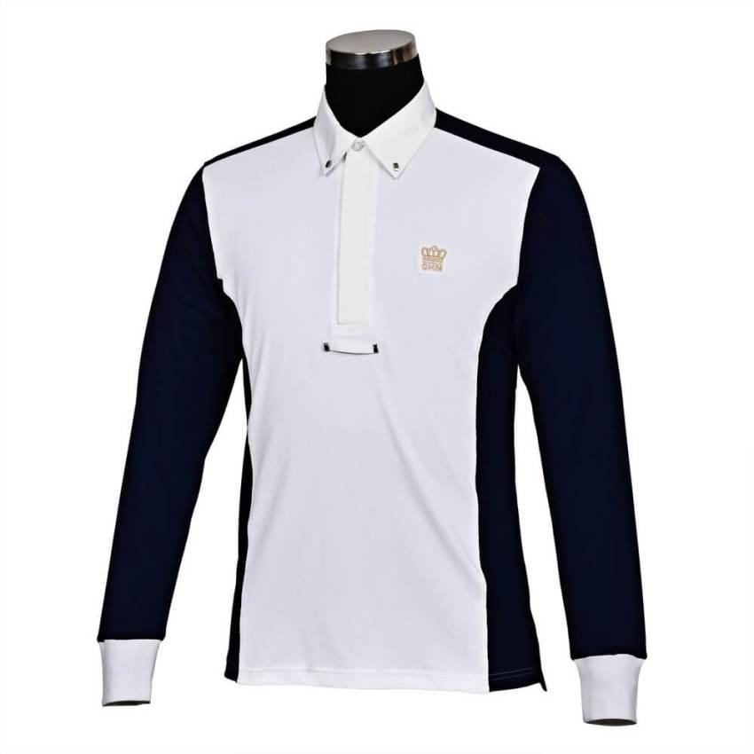 George Morris Champion Long Sleeve Show Shirt WHITE/NAVY
