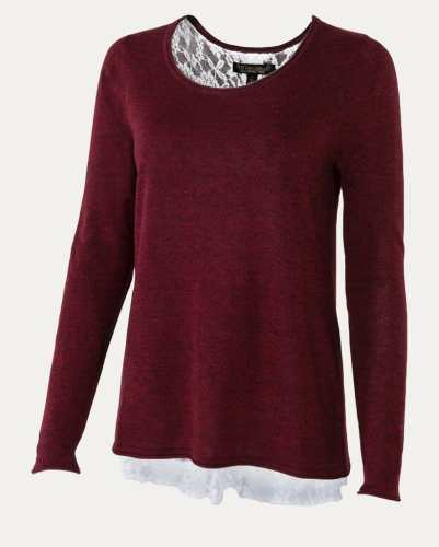 Noble Outfitters Tory Lace Sweater Cranberry