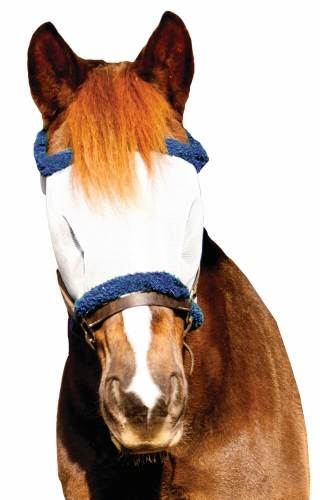 TuffRider Fly Mask W/O Ears Light Gray/Navy PONY