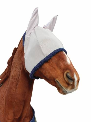 TuffRider Fly Mask With Ears Light Gray/Navy PONY