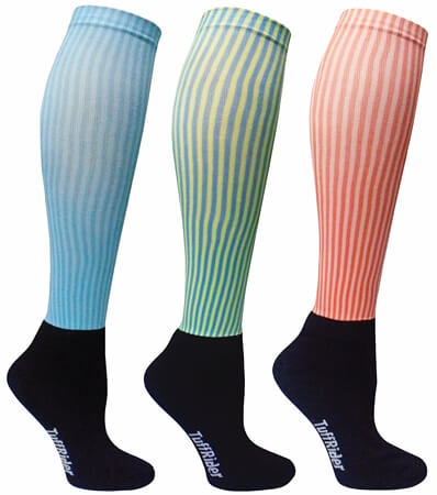 Tuffrider Neon Stripe Padded Socks 3 Pack