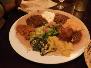 Injera with tibs - Habesha Ethiopian Restaurant Review