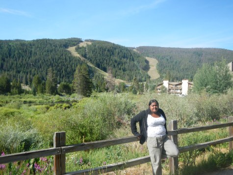 Lauren in front of the hiking area at the Inn at Keystone