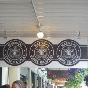 The original Starbucks logo still on display.