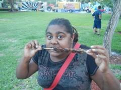 Lauren eating a Pincho