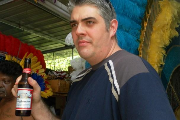 Enjoying a Budweiser - Carnival in Trinidad