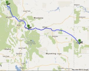 Our Route from Rapid City to Kalispel