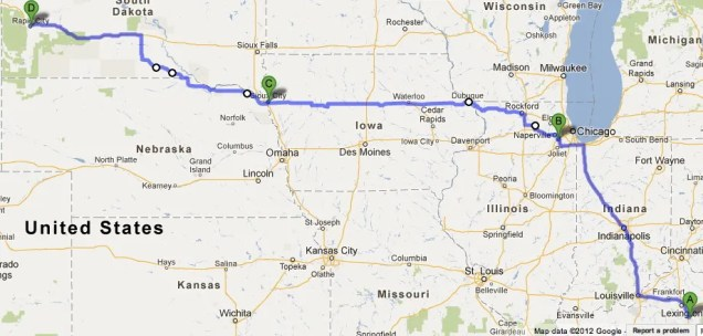 Our Route from Richmond, KY to Rapid City, SD