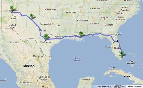 Road Trip Albuquerque lubbock san_antonio new_orleans miami