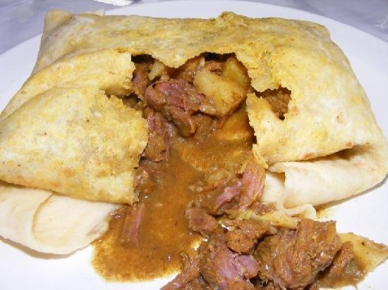 Curry Beef Roti in Trinidad