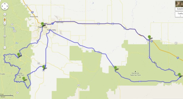 Route Map Through South Dakota