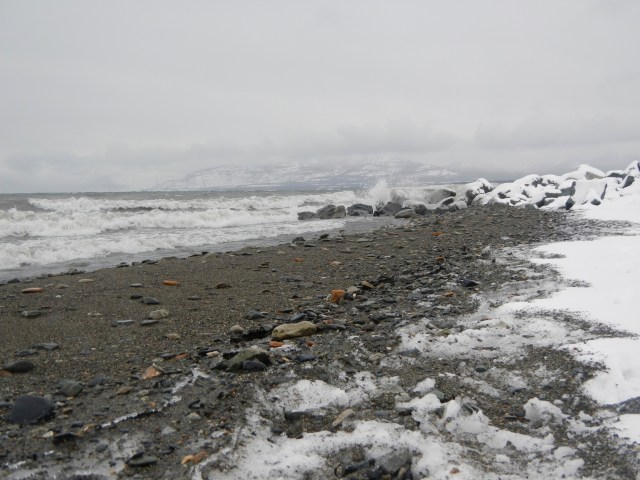 Kluane Lake in a winter Storm