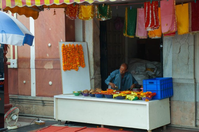 Selling Prayer Goods at Laxmi Narayan Birla Mandir
