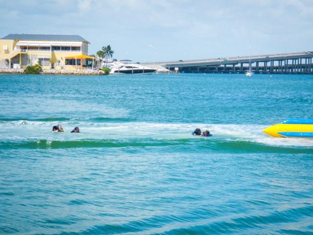 Banana Boat ride while on the Tropical Sailing Miami Ski and Splash tour