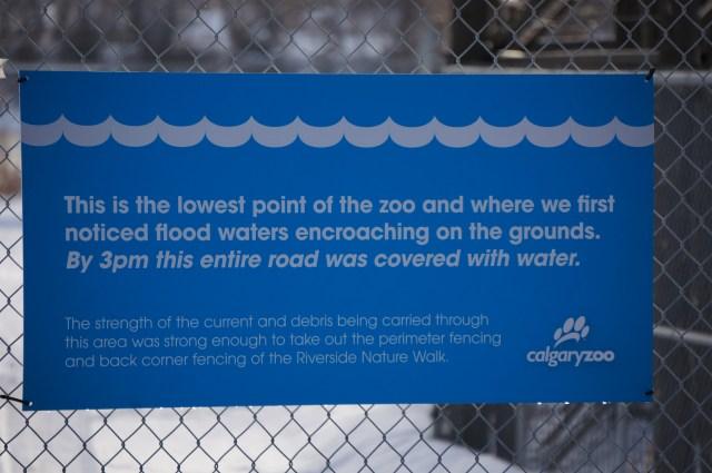 Calgary Zoo Flood Marker Sign