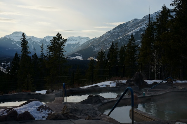 View from the pool at the Banff Hidden Ridge Resort.