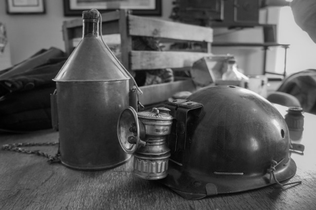 Mining Helmet and Canteen