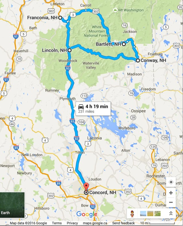 Road Trip Planner White Mountains Map