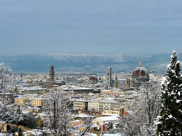 Florence, Italy with snow cover in December