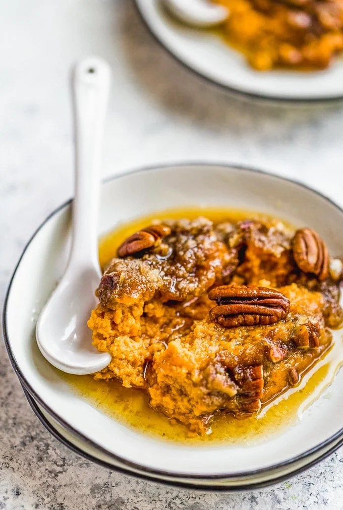 Sweet potato casserole on white plate