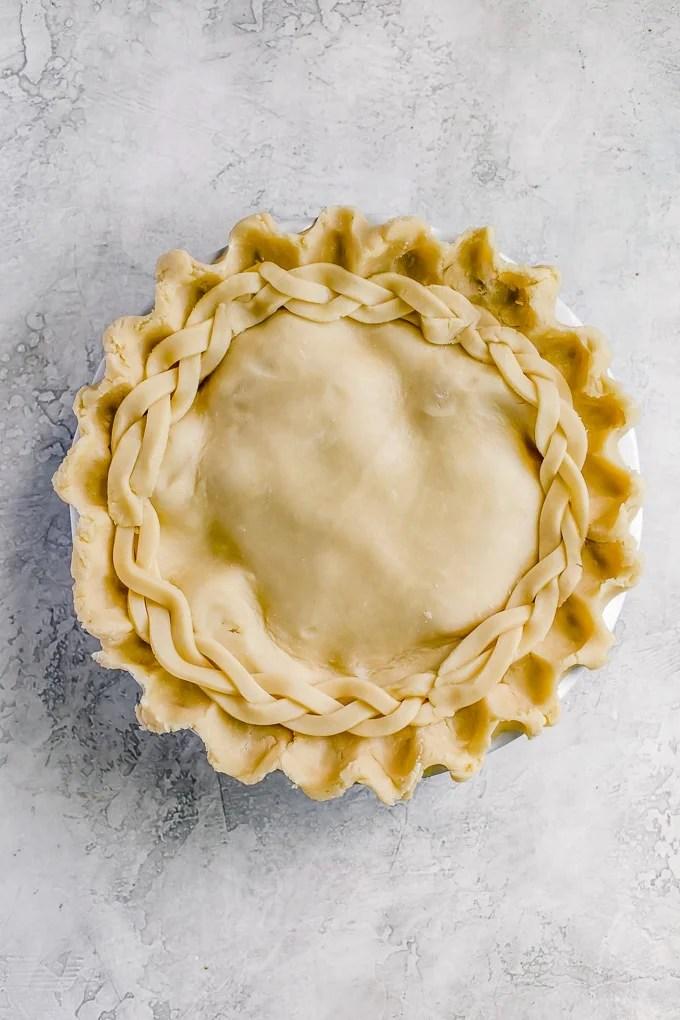 Homemade Apple Pie Crust: Double Crust Apple Pie before baking