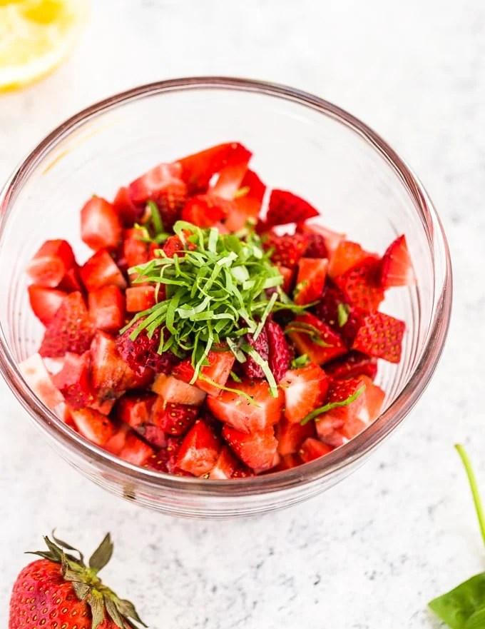 Strawberry Basil fruit salsa