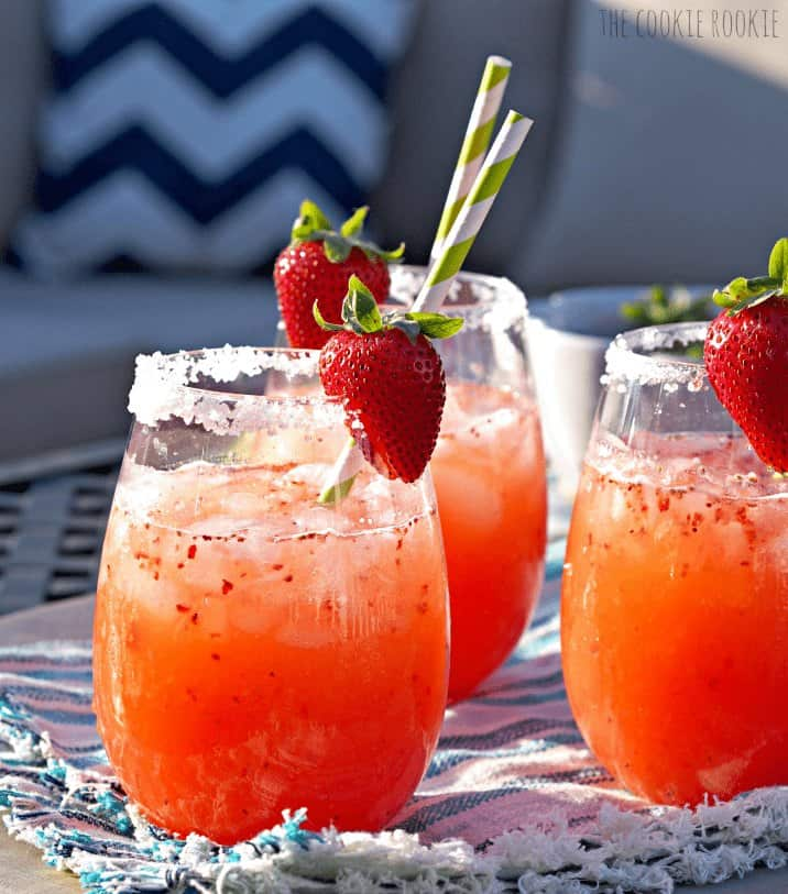 glasses of margarita punch with strawberries
