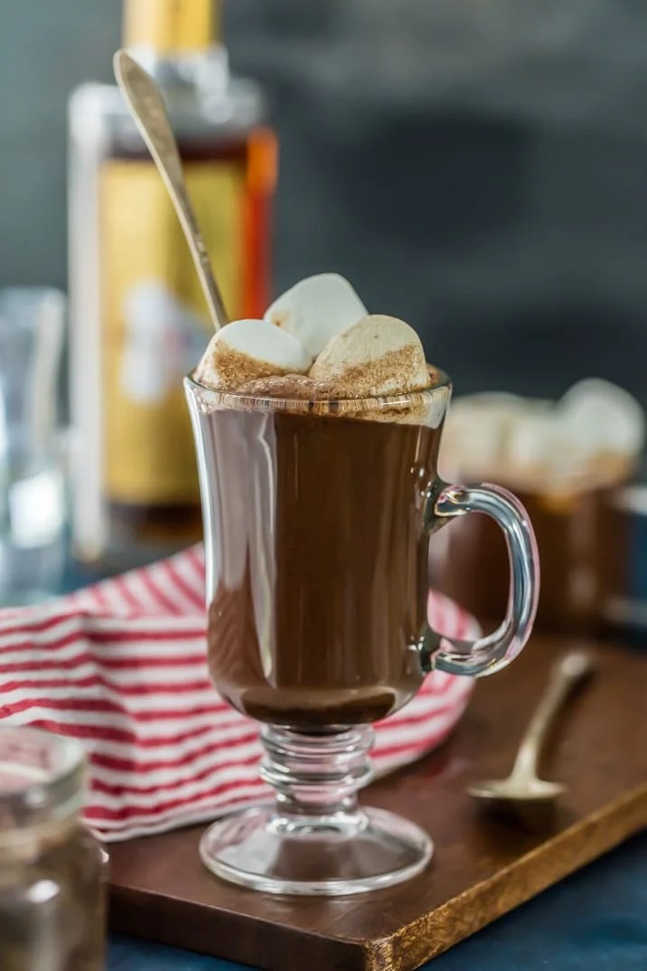Chocolate Hot Buttered Rum in a translucent mug