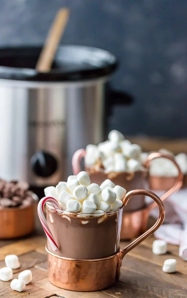 Slow Cooker Peppermint Hot Chocolate {The Cookie Rookie}