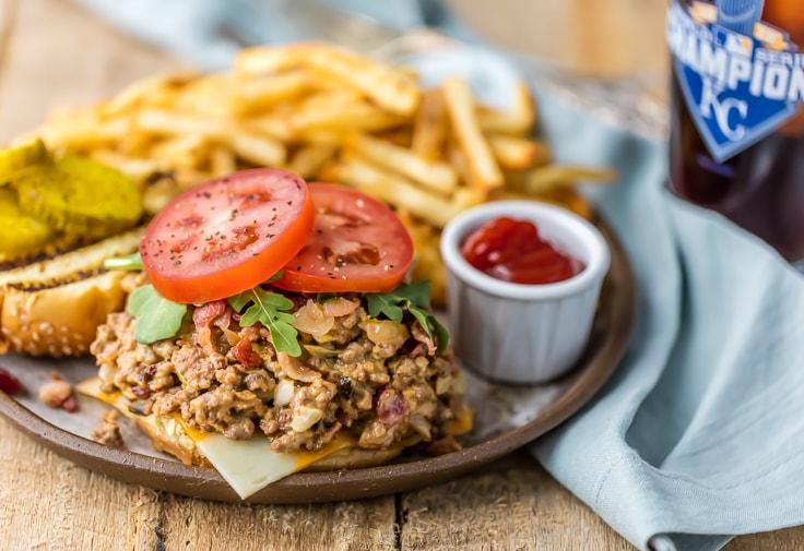 open faced Bacon Cheeseburger Sloppy Joes sandwich
