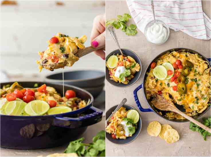 casserole made with tortilla chips, chicken, and cheese