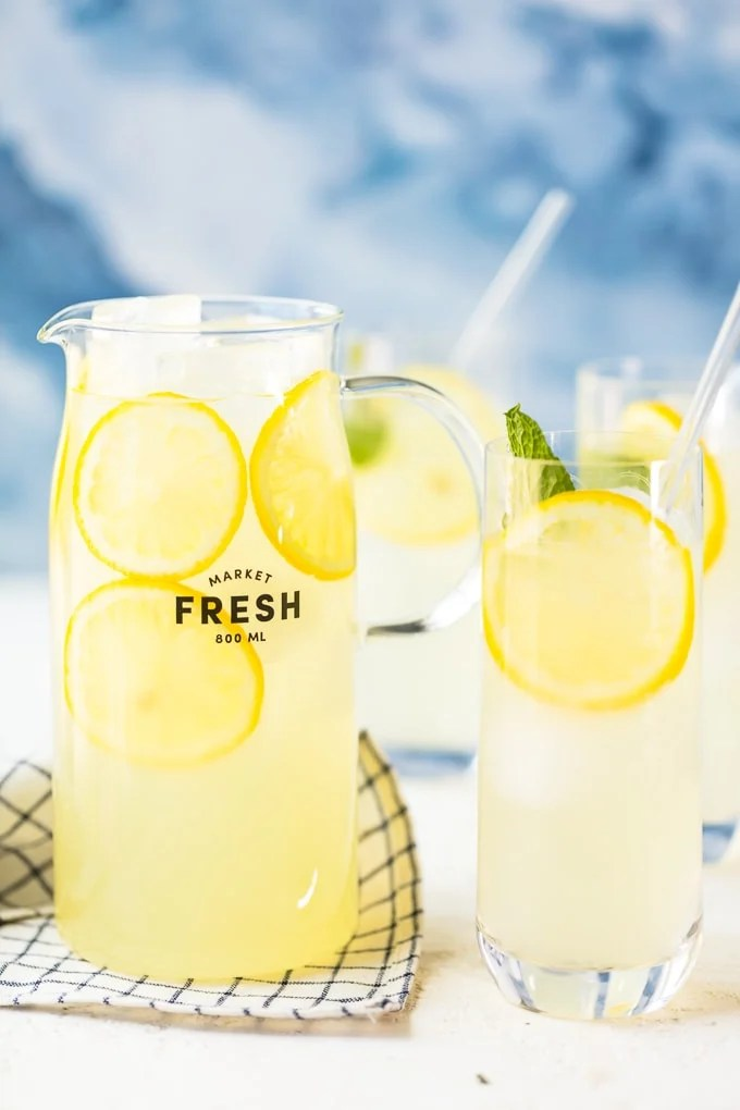 Homemade lemonade recipe in a pitcher and glasses